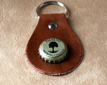 Palmetto Brewing Company Beer Bottle Cap Leather Key Fob