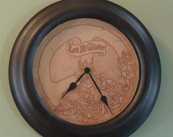 Hand Tooled Brown Leather Clock - Peace Sign with Flowers