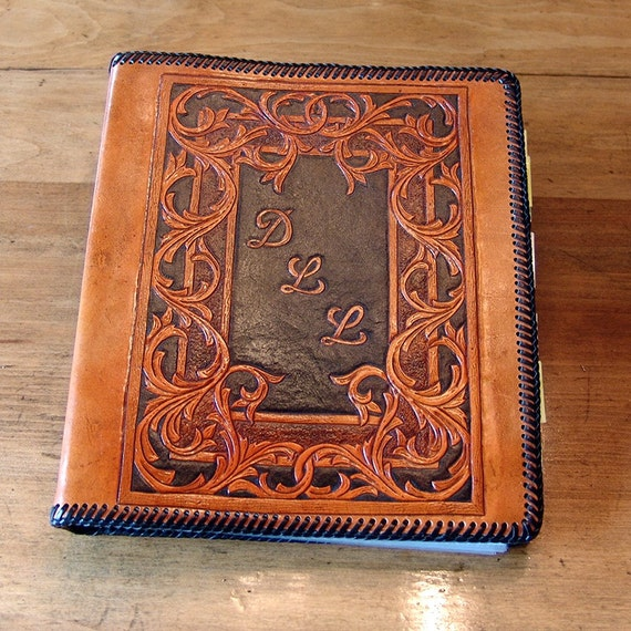 Hand Tooled Leather 3-Ring Binder / Notebook