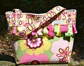 Boutique Tote bag purse in fabric by Alexander Henry Kleo pink fabric w/ lush ribbons