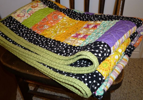 SALE Healing Quilt with positive affirmations words stitched in free motion quilted delightful designs
