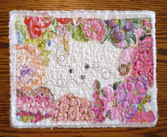 Spring is abuzz with bees and flowers Quilted Tea Mat