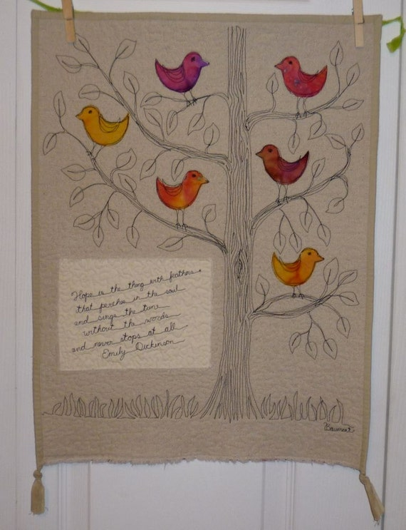 Poetry Quilt featuring Emily Dickinson Hope Bird with free motion tree and birds thread sketch art