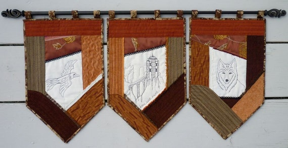 Game of Thrones Castle Decor medieval wall hanging flags textile art banners renaissance quilted