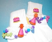 SALE----Happy Birthday Beaded Socks with Matching Hairbow