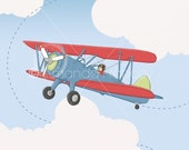 Aviator Tiger Moth Airplane WALL ART for boys room