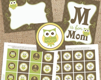 Gender Neutral Owl Baby Shower Printable Decorations - Instant Download - Green Yellow  - Print Your Own - DIY - Labels Tags Toppers Signs
