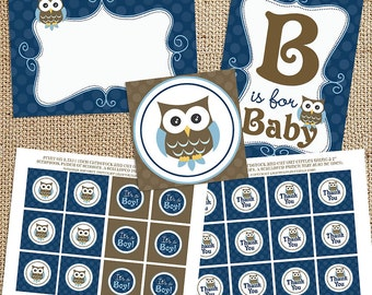Owl Boy Baby Shower Printable Decorations - Instant Download