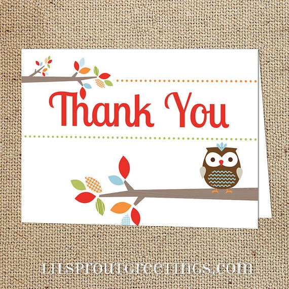 Treetop Friends Printable Thank You Note Instant Download