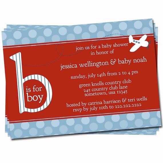 airplane baby shower invitation boys birth announcement