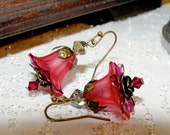Summer Time - Pink and Purple Flower with Swarovski Crystals - Brass Earrings