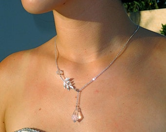 Frost - Asymmetrical Swarovski Crystal Bridal Flower Sterling Silver Chain Necklace