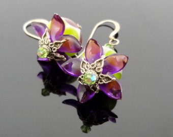 Passion Fruit - Spotted Green and Purple Lampwork Fuchsia Flower Sterling Silver Earrings