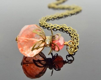Sultry Sangria - Vintage Inspired Cherry Quartz and Crystal Pendant on Brass Chain Necklace