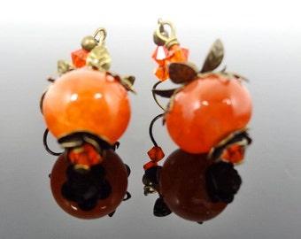 Orange Red Fire Agate and Brass Bell Flower Earrings