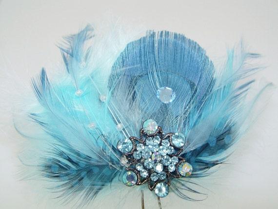 Baby Blue Feather and Rhinestone Fascinator Comb Bridal Wedding Hair Piece