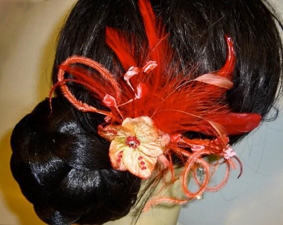 Sparkling Red Velvet Flower Beaded Feather Hairpin Bridesmaid Hair Clip Fascinator