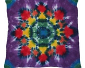 Flower Tie-Dyed Headwrap, Wallhanging or Tablecloth