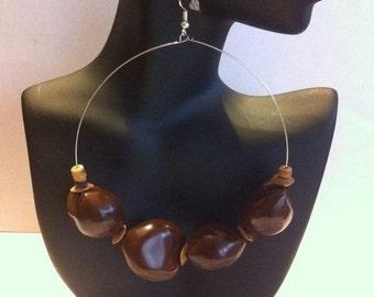 African Inspired hoop Earrings