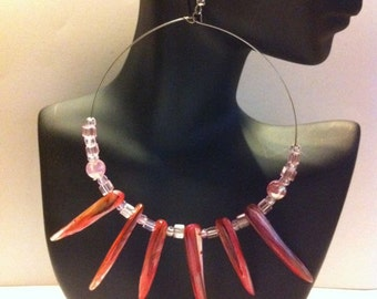 Exotic  Glass Spike Hoops