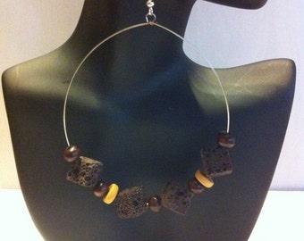 Beaded Lava hoop Earrings