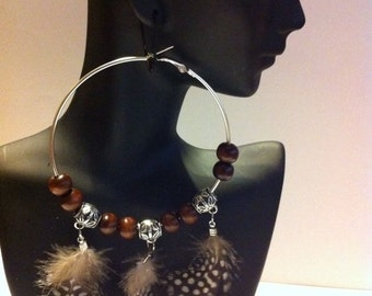 Tribal  Beaded Hoops with Feathers