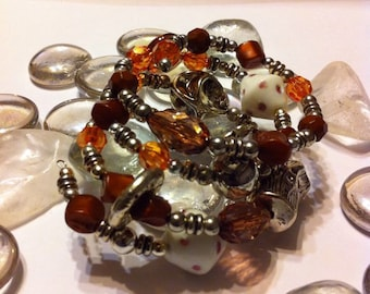 Wild Wonder Beaded Wrap Cuff Bracelet..