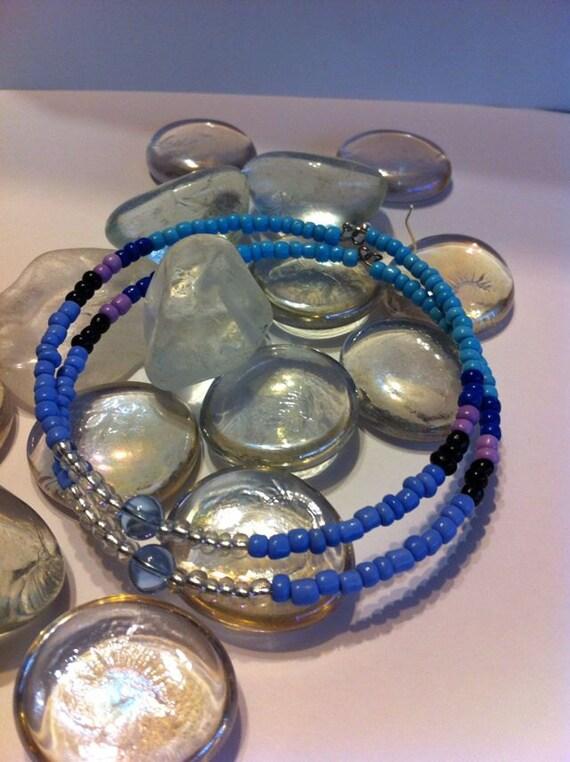 Blue Skies Hand Beaded hoop earrings... Free  Shipping
