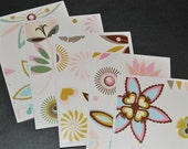 Set of 5 floral note cards