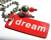 Red Dream Metal Tag Necklace On Silver Steel Chain