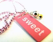 Etsy Sweet Necklace Pink and White Metal Id Tag Pendant On Pink Metal Ball Chain