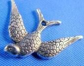 Swallows 20 Antique Silver Bird Charms Pendants
