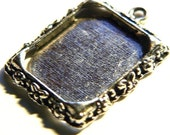 5 Photo Frame Charm Pendant Blanks Rectangle Antique Silver Lead Free ships worldwide within 24 hours