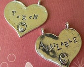 4- Taken / Available Double Sided Heart Pendants- Large Antique Silver