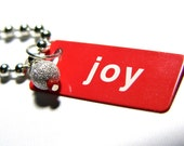 Joy Pendant Red and White Metal ID Tag with Beaded Dangle with Ball Chain