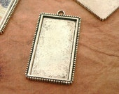 5 Vertical Rectangle Extra Large Blank Pendant Trays Photo Frames -over 2 inches long - Antique Silver- round Bail