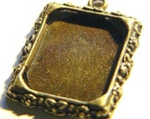 Charms- 10 Photo Frame Charm Pendant Blanks Rectangle Antique Bronze Plated Lead Free ships worldwide within 24 hours