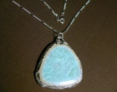 Blue Swirls Soldered Tile Pendant with Free Chain