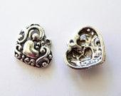 Brighton Style Heart -Silver Charm 5 pcs