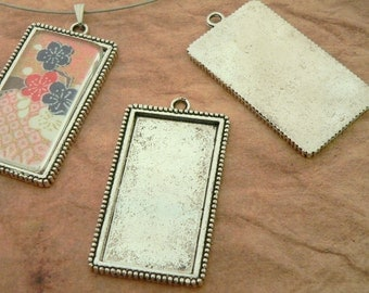 Sale! Pendants- 15 Vertical Rectangle Extra Large Blank Pendant Trays Photo Frames- Antique Silver