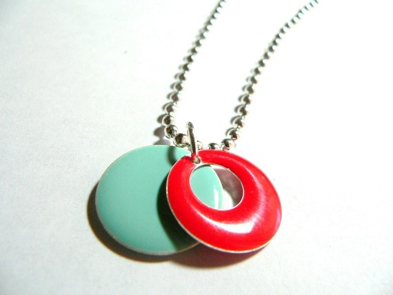 The Red Sea... Red and Blue Metal Epoxy Enameled Pendant Drops with Chain..comes with Gift Tin...on sale
