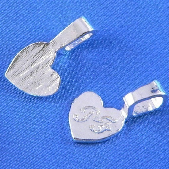 Glue on Bails 25 Silver LARGE Heart  Bails-  Lead and Nickel Free Original Design Ships out  within 24 hours