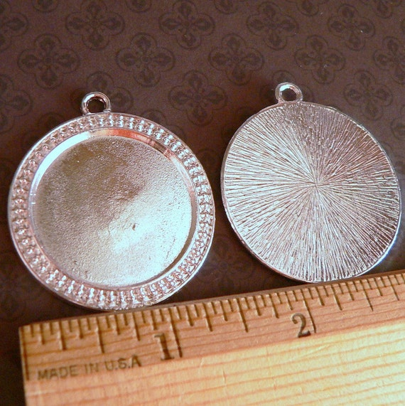 5 Large Round Pendant Trays Bezel Blank  Antique Silver- 1 inch- circle