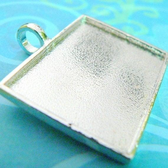 5 Extra Large Blank Pendant Trays -Rectangle Horizontal Shiny Silver- Photo Frame -Large round Bail