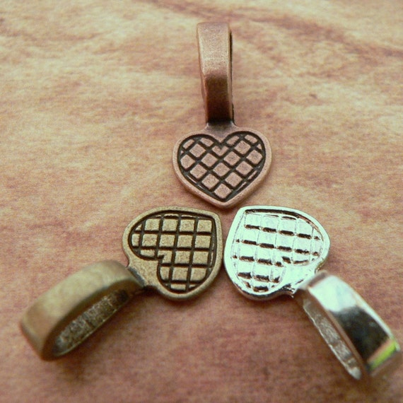 45 Large Mix Pack Bails Glue On Heart Shaped Silver  Copper Bronze - NEW IN STOCK