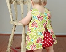 PDF Dress Pattern - Easy Reversible Baby Dress Sewing Pattern with Open Back