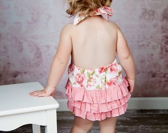 Ruffled Sunsuit Pattern - Girls Toddlers Romper 2 - 6 years PDF tutorial