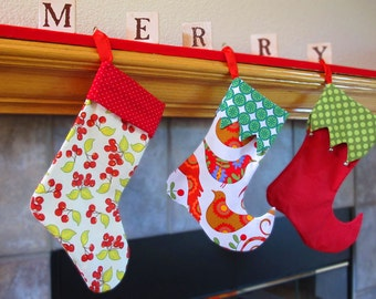 Stocking Sewing Pattern - 2 styles, 2 sizes - Elf and Traditional PDF Christmas Pattern