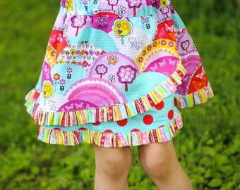 Girls Skirt Pattern 2-8 years, downloadable sewing pattern PDF