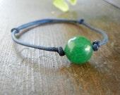 Dark Blue Leather and Green Jade Floating Solitare Beaded Bracelet